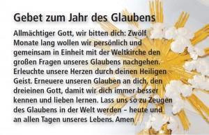 """Gebet zum """"Jahr des Glaubens"""""""